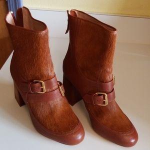 Moschino Calf Hair Tan Leather Boots Boho Hippie